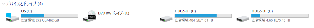 I-O DATA HDDとノートパソコンのSSDの容量と構成
