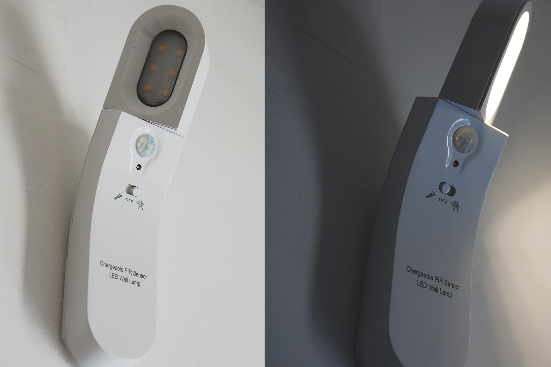 LEDセンサーライト USB充電式 ライトは345度回転可能