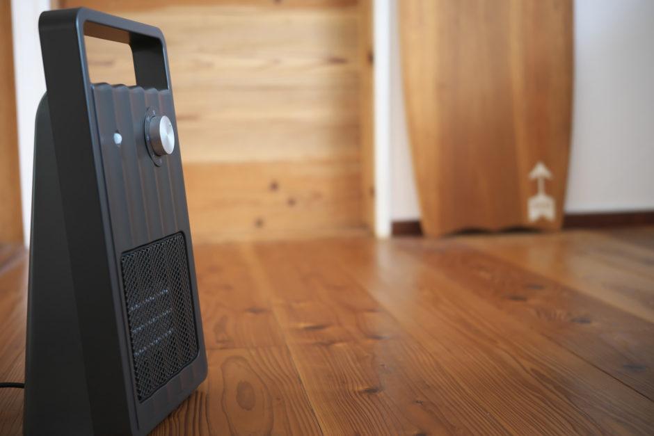 斜めから見たイメージ。人感センサー付セラミックファンヒーター「NAFCO W-01」