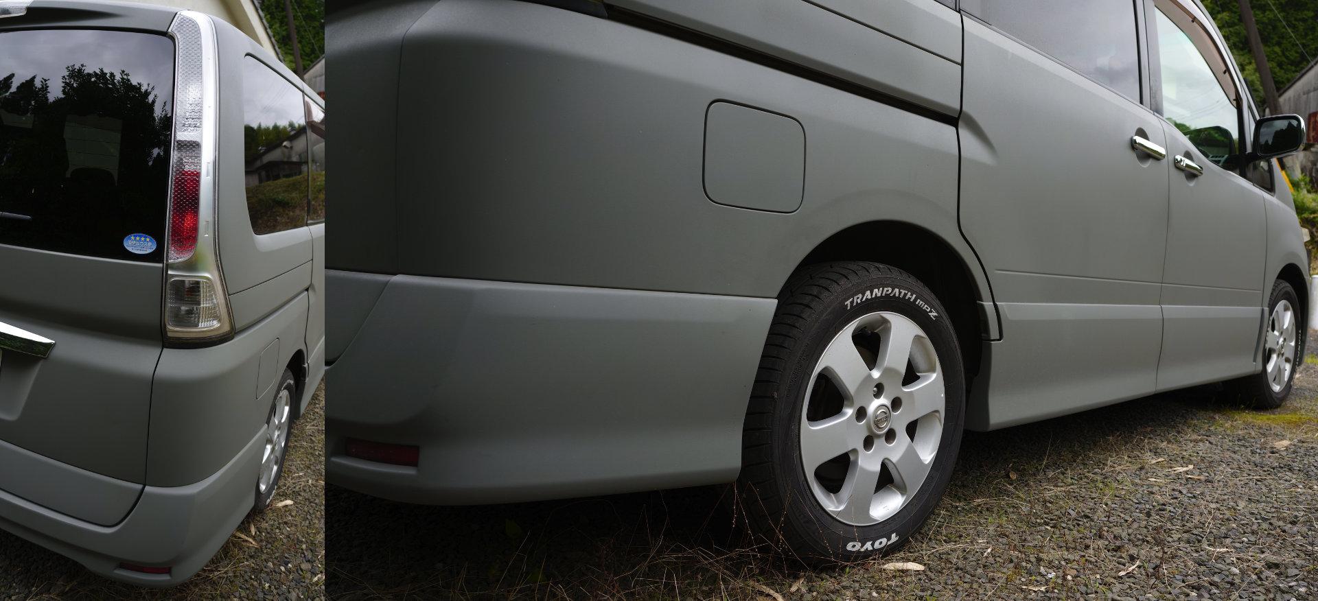 ドアハンドル、バックミラーにメッキカバーでカスタマイズ&テール交換、タイヤのロゴをマーカーでペイント、家庭用電動ガンでセレナを全塗装「DIY」タカラ塗料