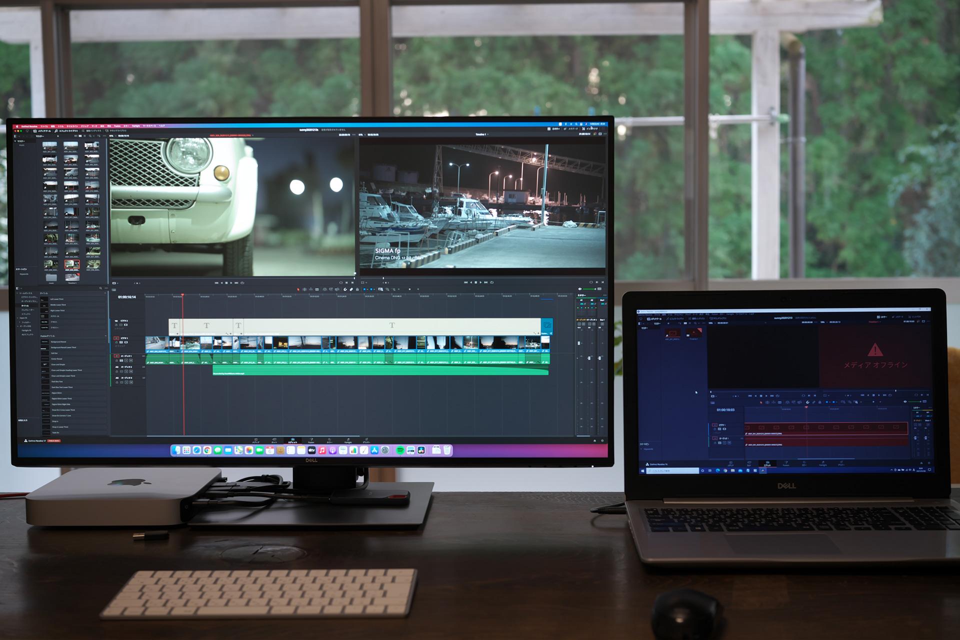 DELL15.6インチノートパソコンとDellモニター「U3219Q 31.5インチ 4K HDR USBーC / IPS」のダビンチリゾルブ編集画面の表示サイズ比較
