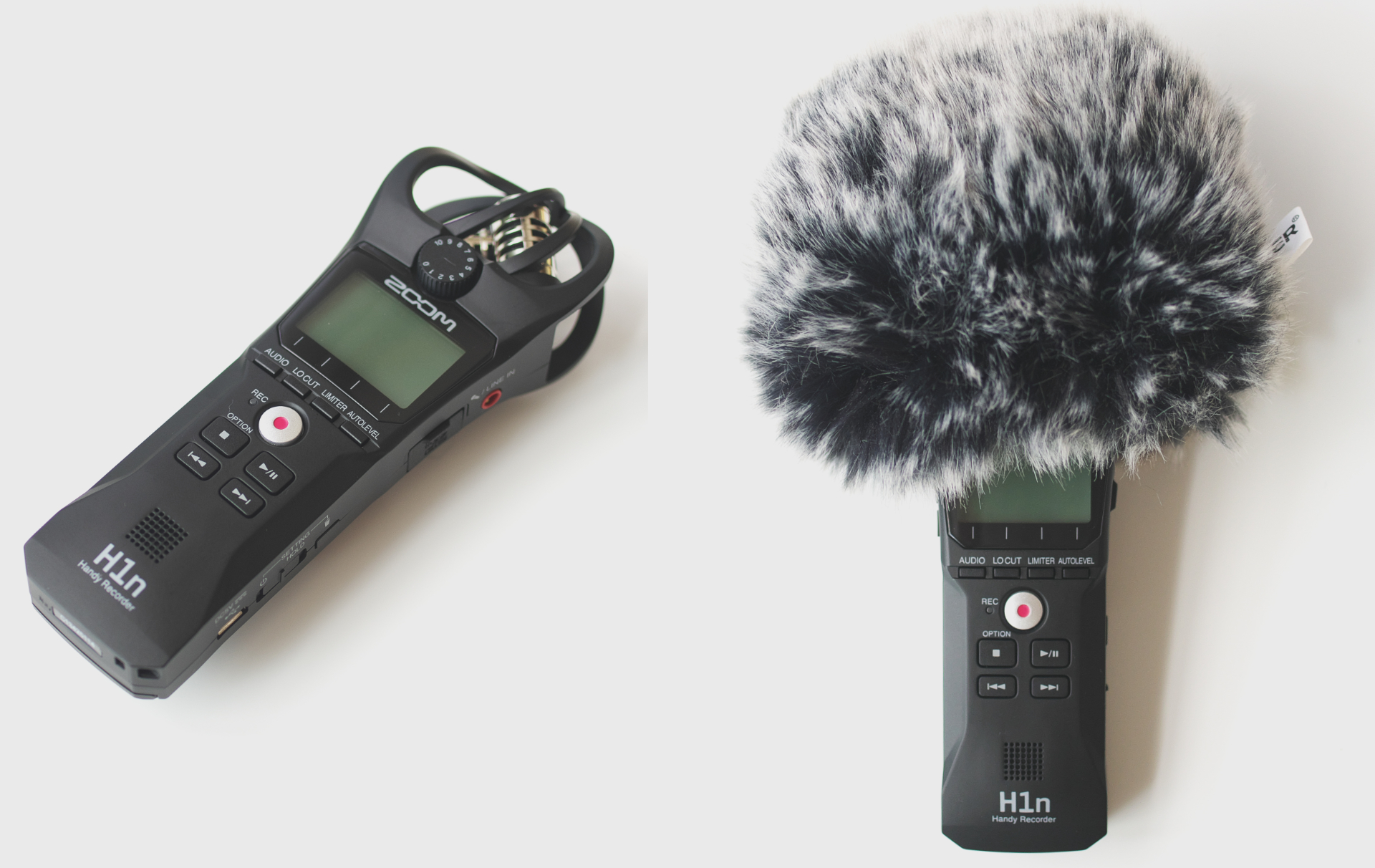 Neewer マイクウインドスクリーン ZOOM H1n ポータブルレコーダー取り付け例1