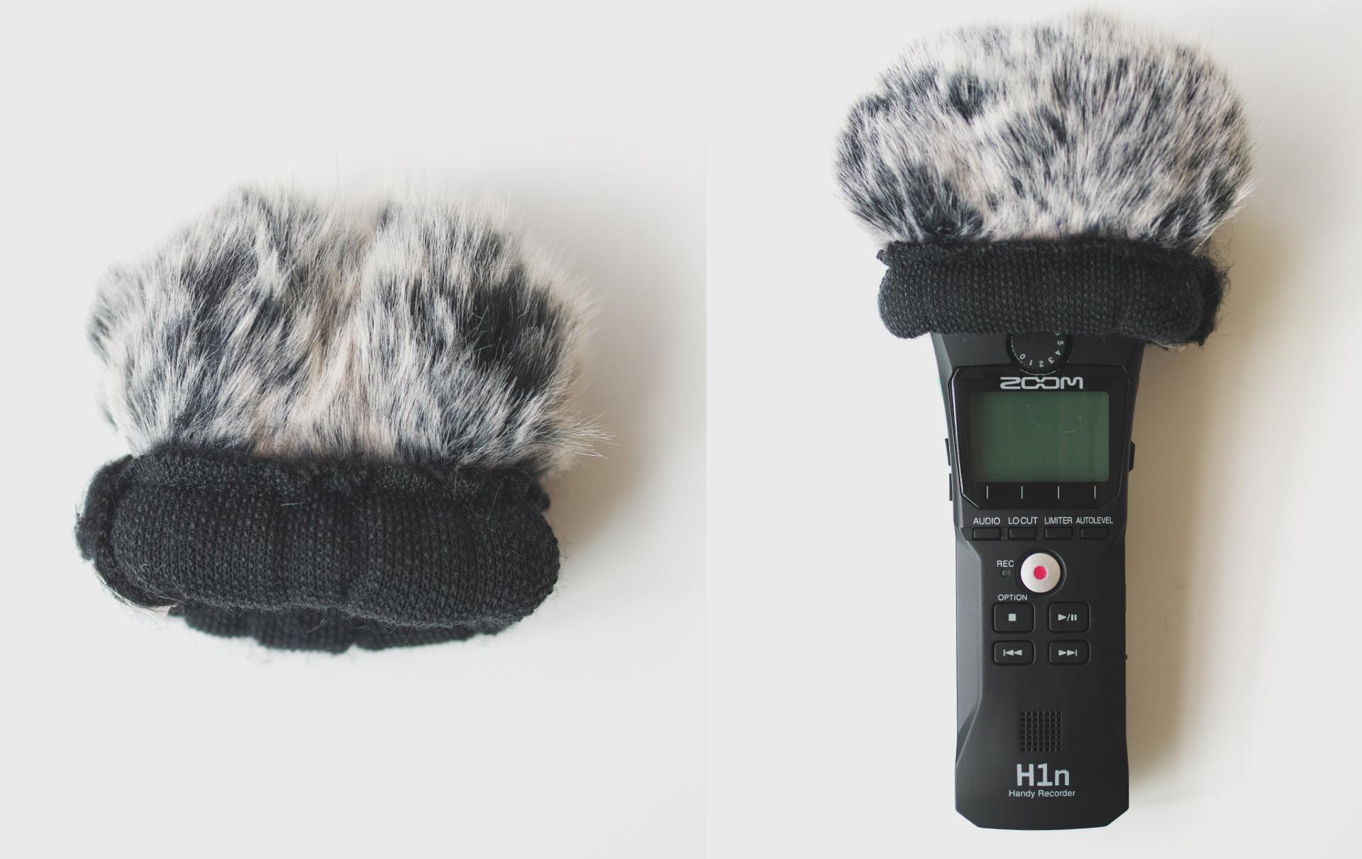 Neewer マイクウインドスクリーン ZOOM H1n ポータブルレコーダー取り付け例2