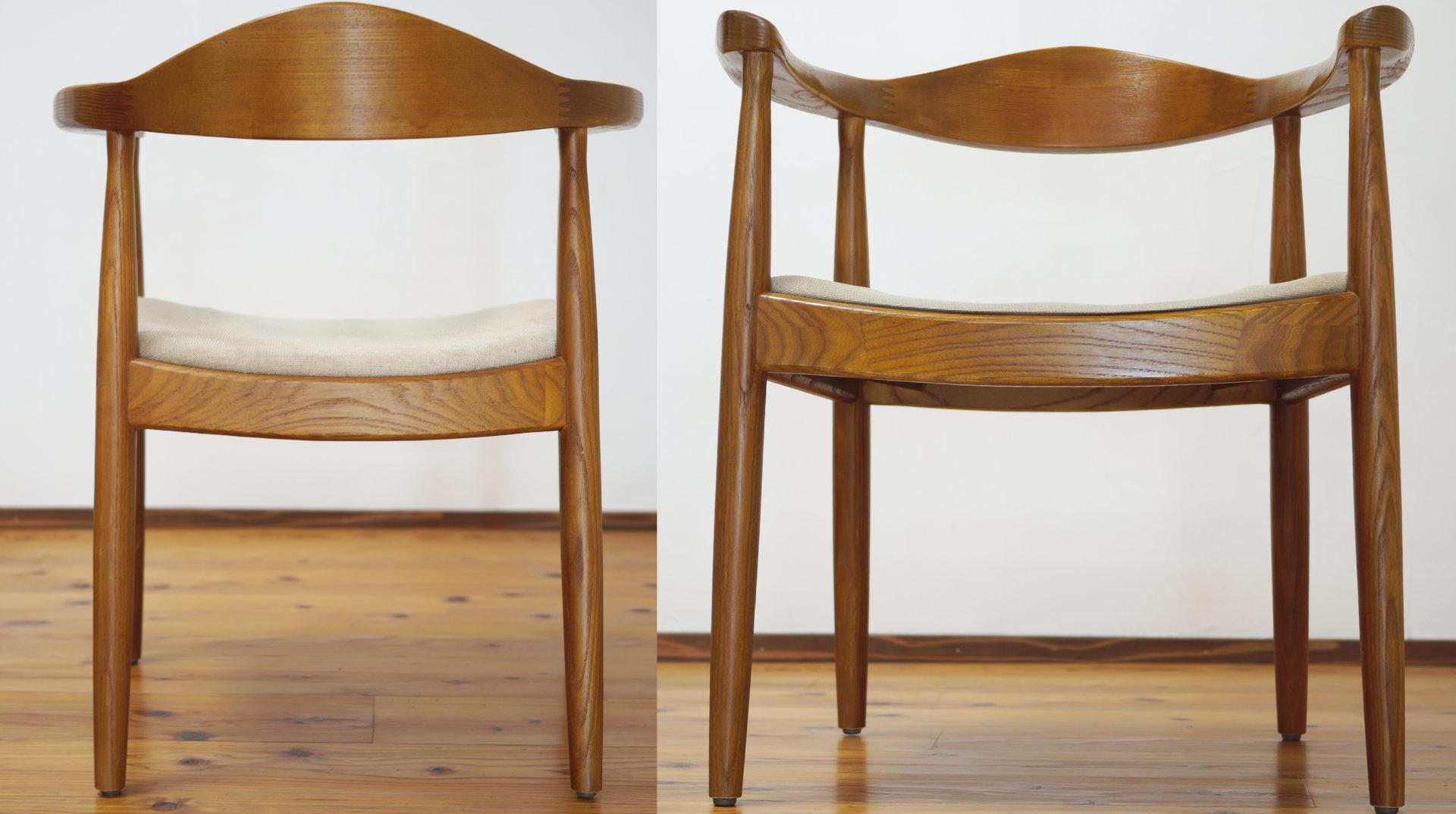 前後の全体写真、北欧デザイナーズ木製チェア「PP503 The Chair / ハンス・J・ウェグナー」