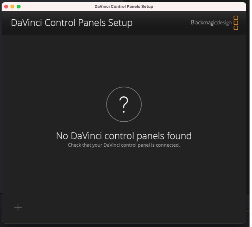 No DaVinci Control Panels found
